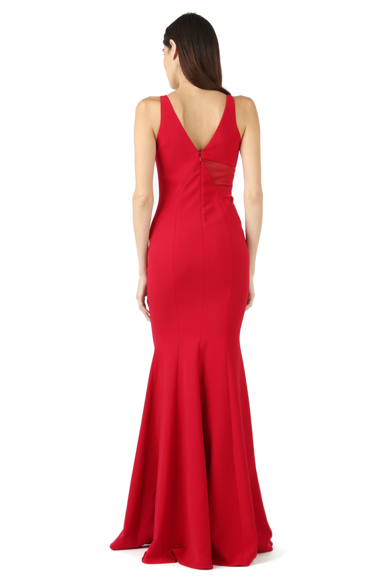 Jay Godfrey Red Sheer Panel V-Neck Gown - Back View