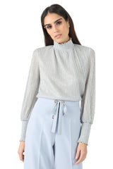 Jay Godfrey Metallic Turtleneck Blouse - Front View