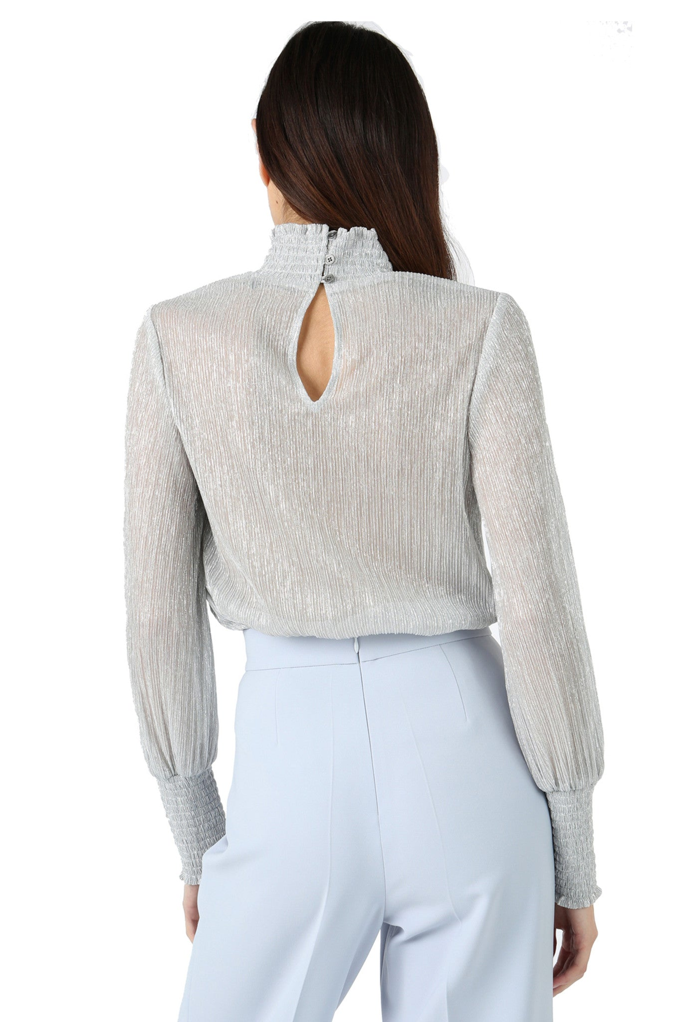 Jay Godfrey Metallic Turtleneck Blouse - Back View