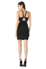 Jay Godfrey Black High-Neck Cut-Out Dress - Back View