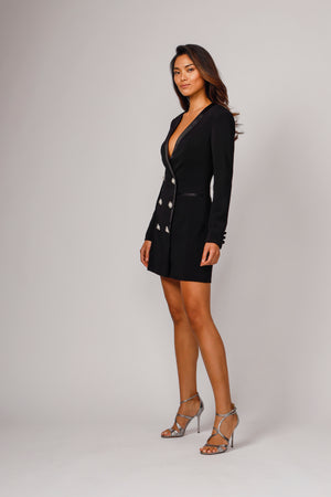 FARREN TUXEDO EMBELLISHED MINI DRESS