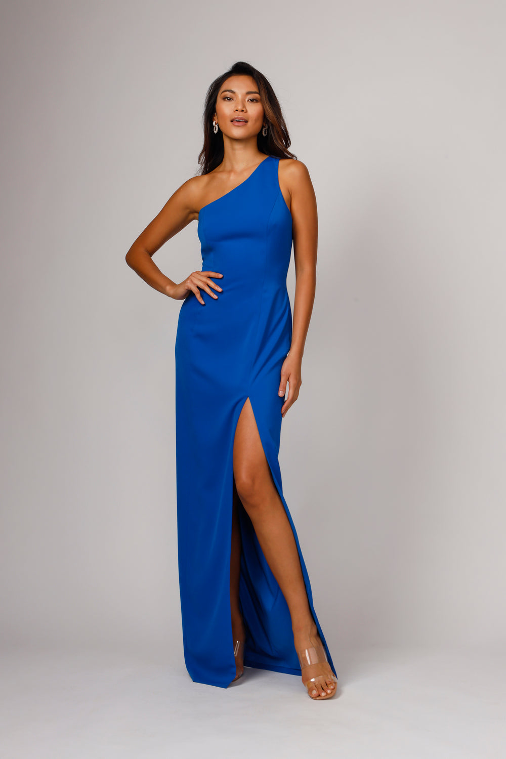 Jay Godfrey DIXIE ONE SHOULDER GOWN in Bright Cobalt Blue