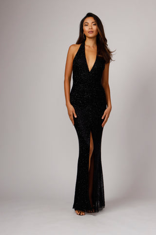 GIBB HAND BEADED HALTER GOWN