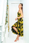 Rita Midi Dress Black & Gold Floral Jay Godfrey
