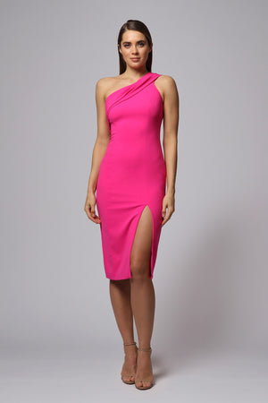 SLOAN ONE SHOULDER MIDI DRESS