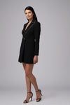 ACE TUXEDO RHINESTONE TRIM MINI DRESS