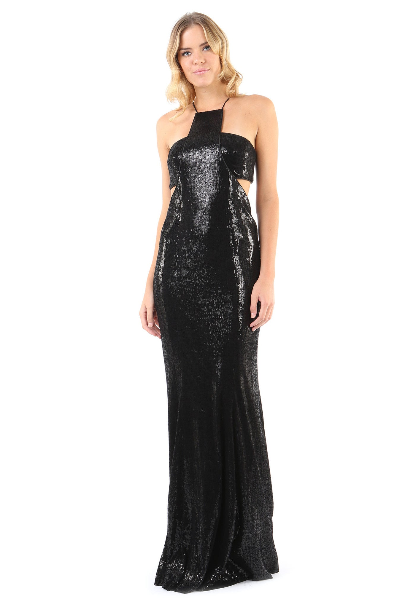 Jay Godfrey Black Sequin Gown with Cut-Outs - Front View