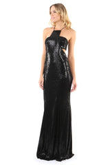 Jay Godfrey Black Sequin Gown with Cut-Outs - Side View