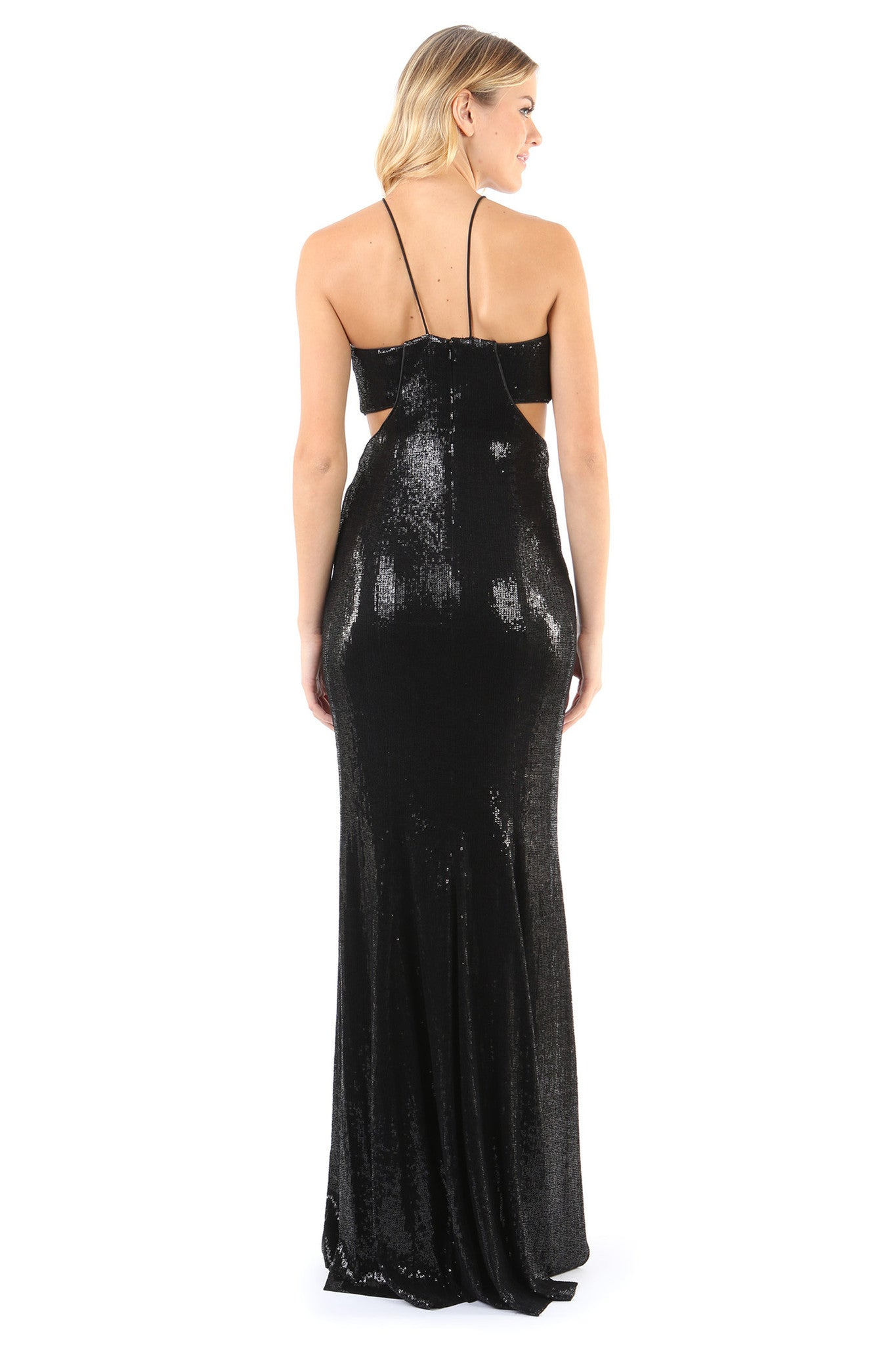 Jay Godfrey Black Sequin Gown with Cut-Outs - Back View