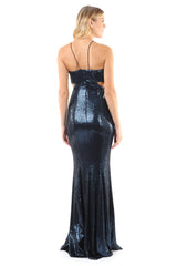 Jay Godfrey Blue Sequin Gown with Cut-Outs - Back View