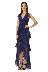 Jay Godfrey Navy Lace Gown - Front View