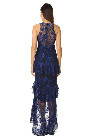 ADRIAN NAVY LACE TEIRED GOWN