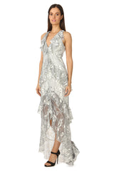 Jay Godfrey White Lace Gown - Side View