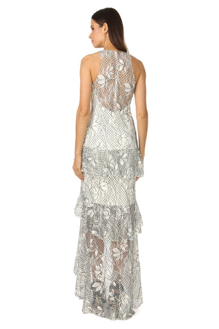 ADRIAN WHITE LACE TEIRED GOWN