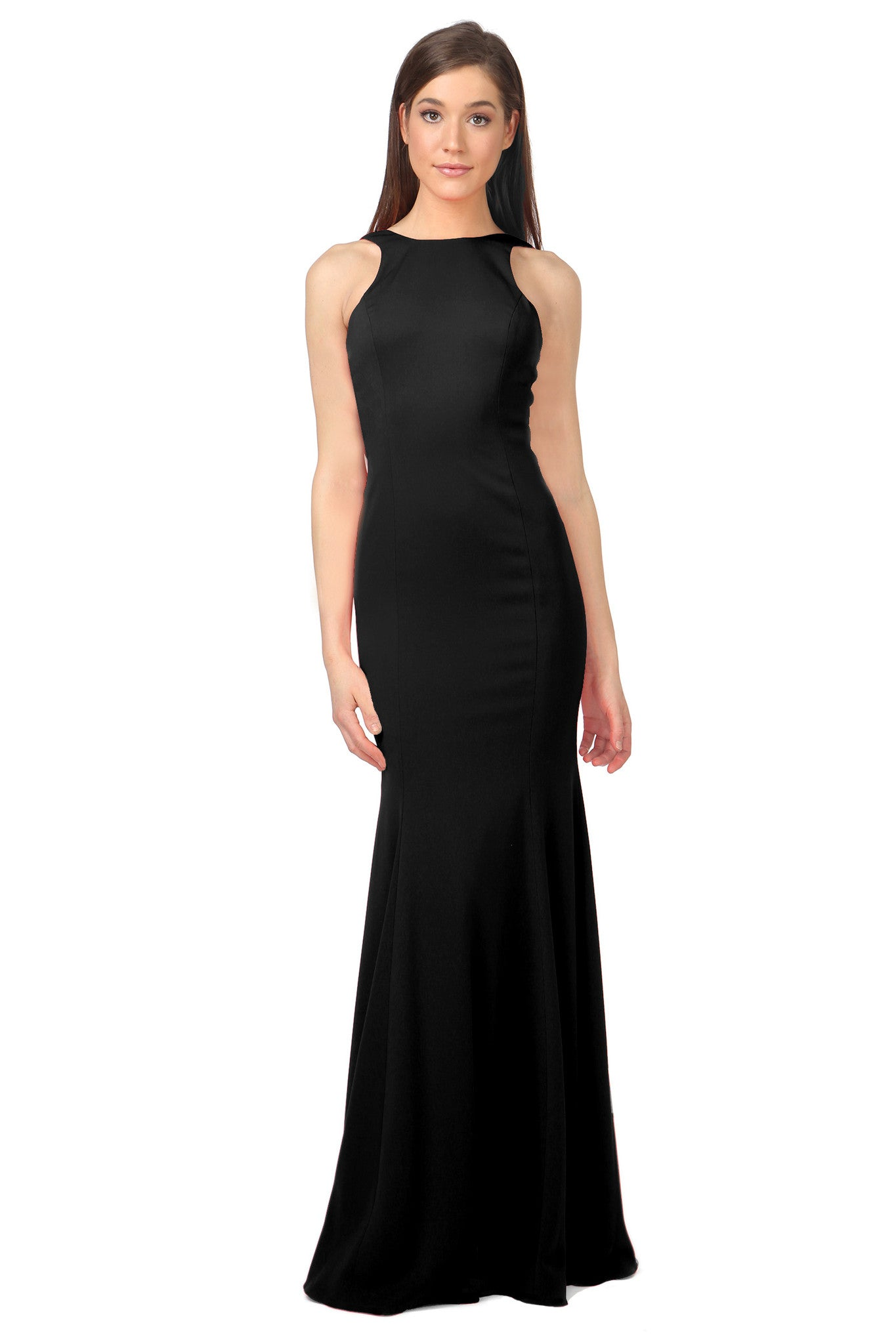 Jay Godfrey Black Draped Back Gown - Front View