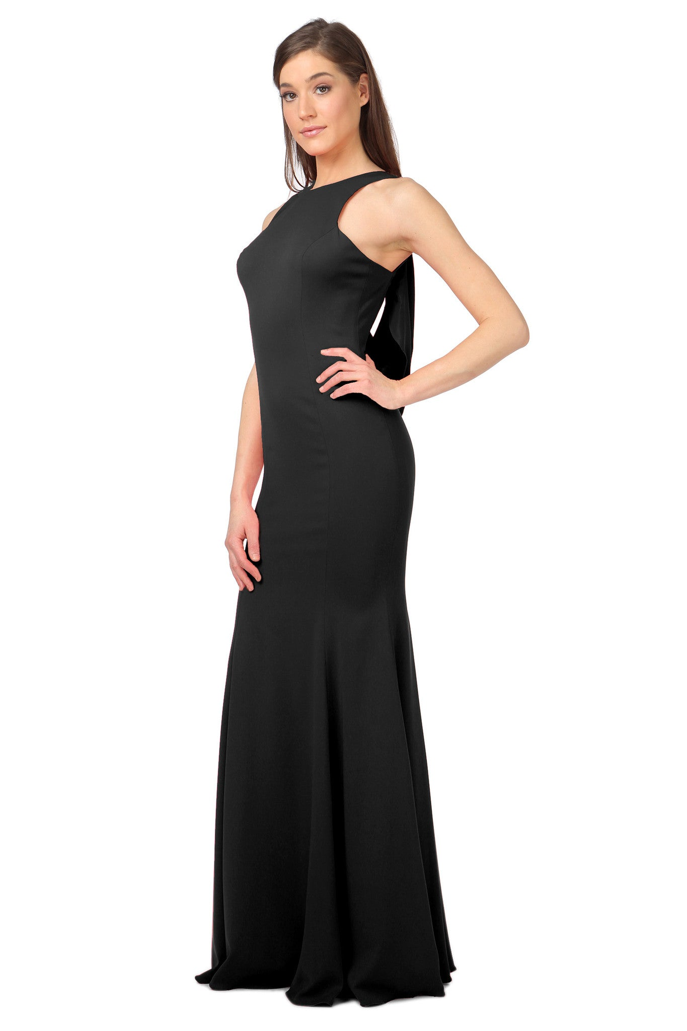 Jay Godfrey Black Draped Back Gown - Side View