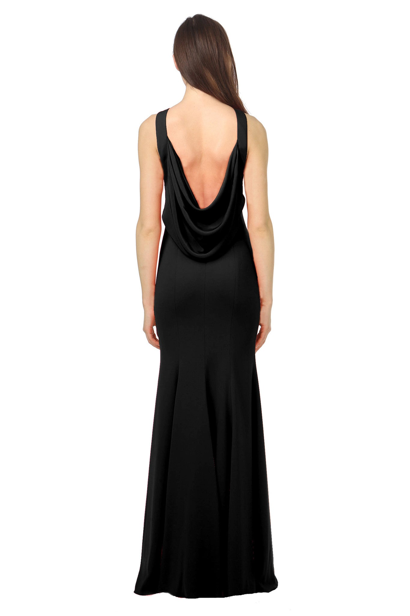 Jay Godfrey Black Draped Back Gown - Back View
