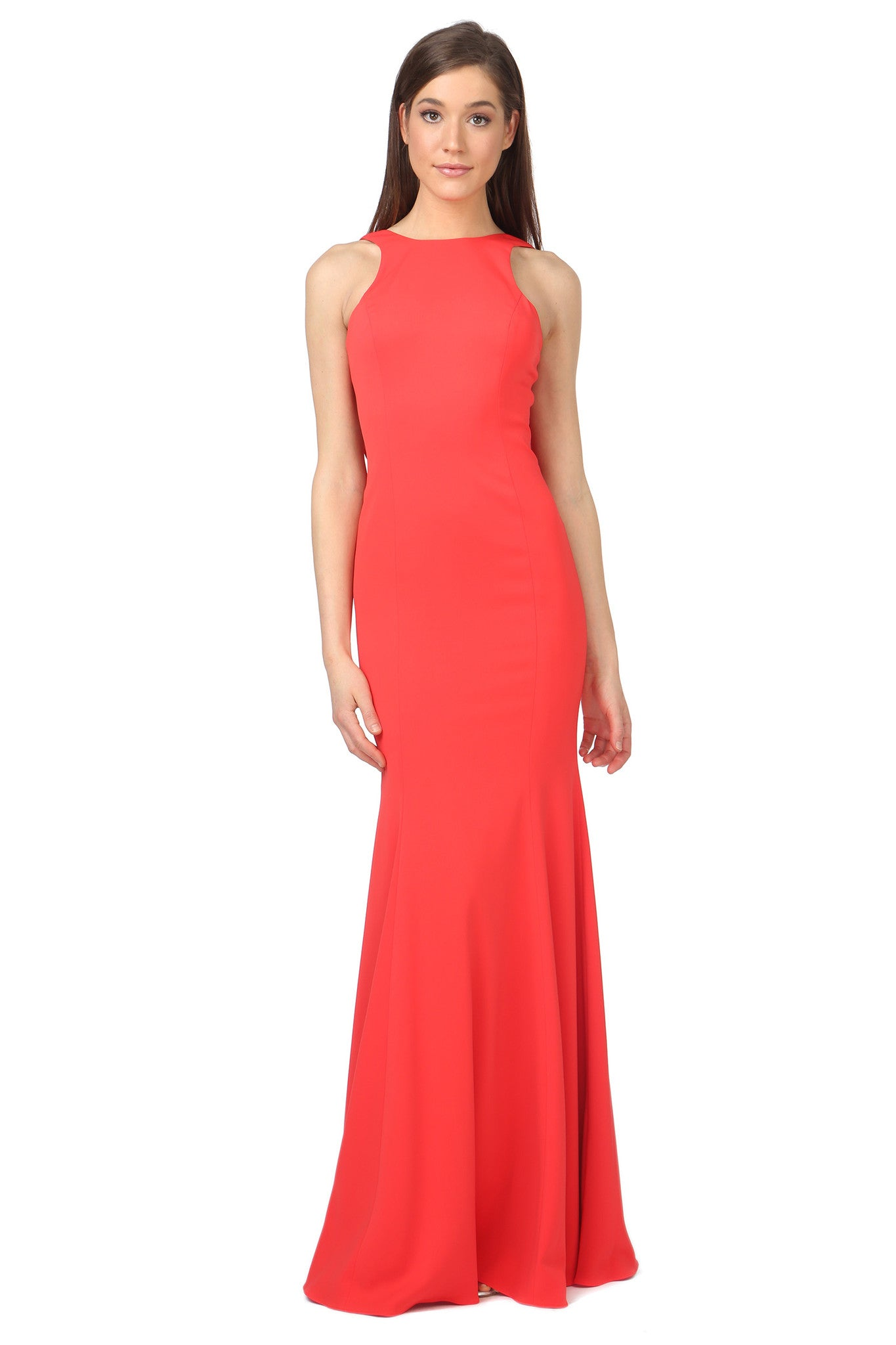 Jay Godfrey Red Draped Back Gown - Front View