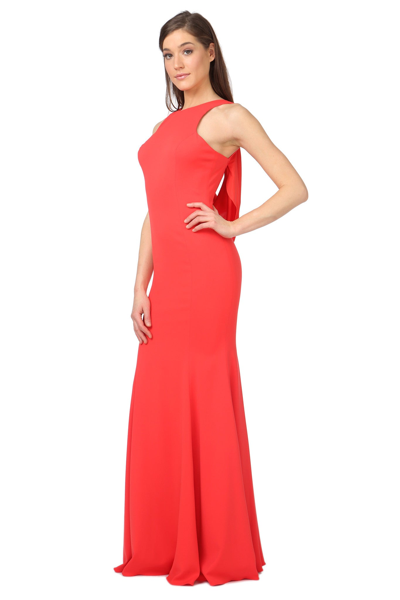Jay Godfrey Red Draped Back Gown - Side View