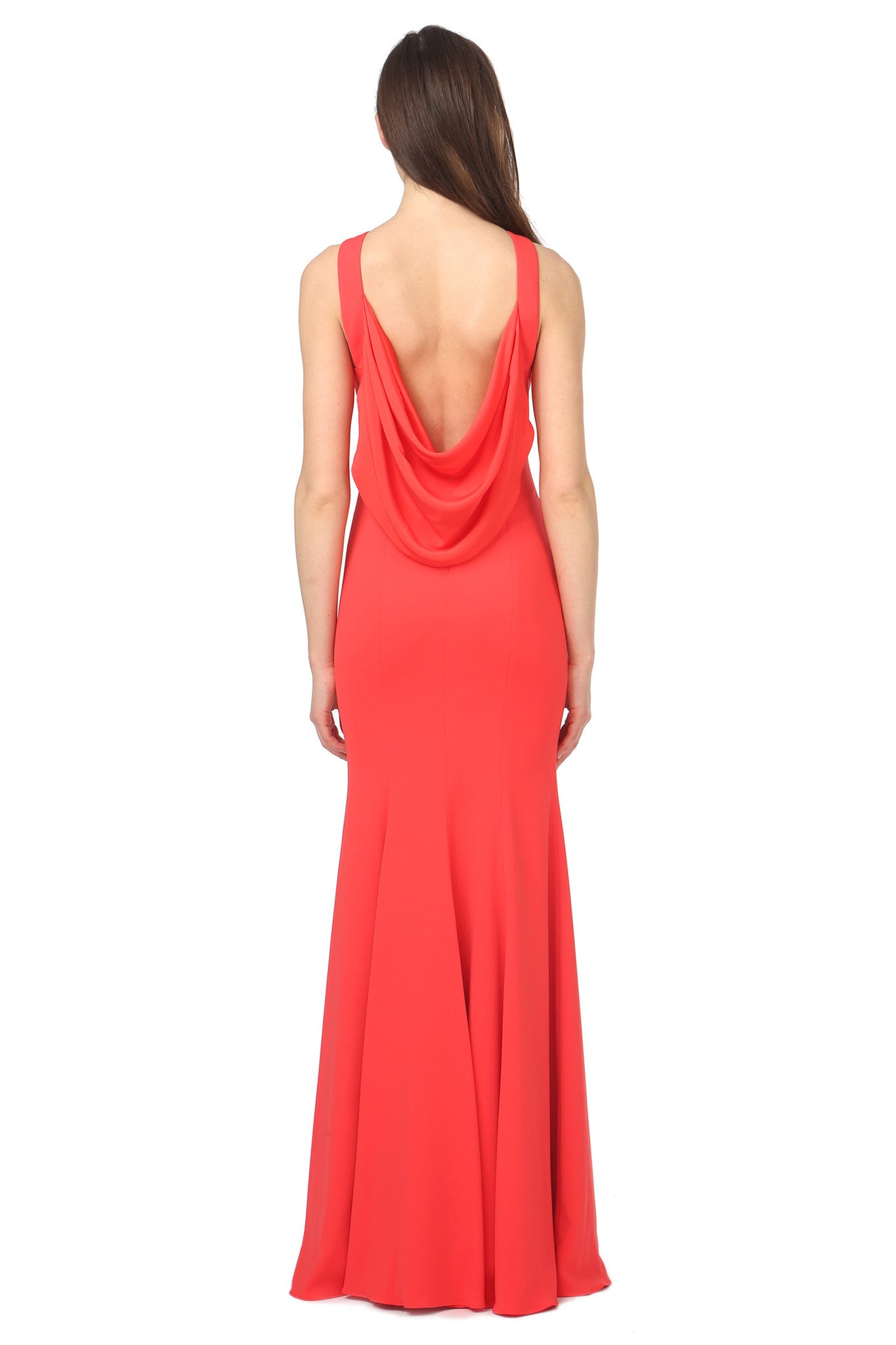 Jay Godfrey Red Draped Back Gown - Back View