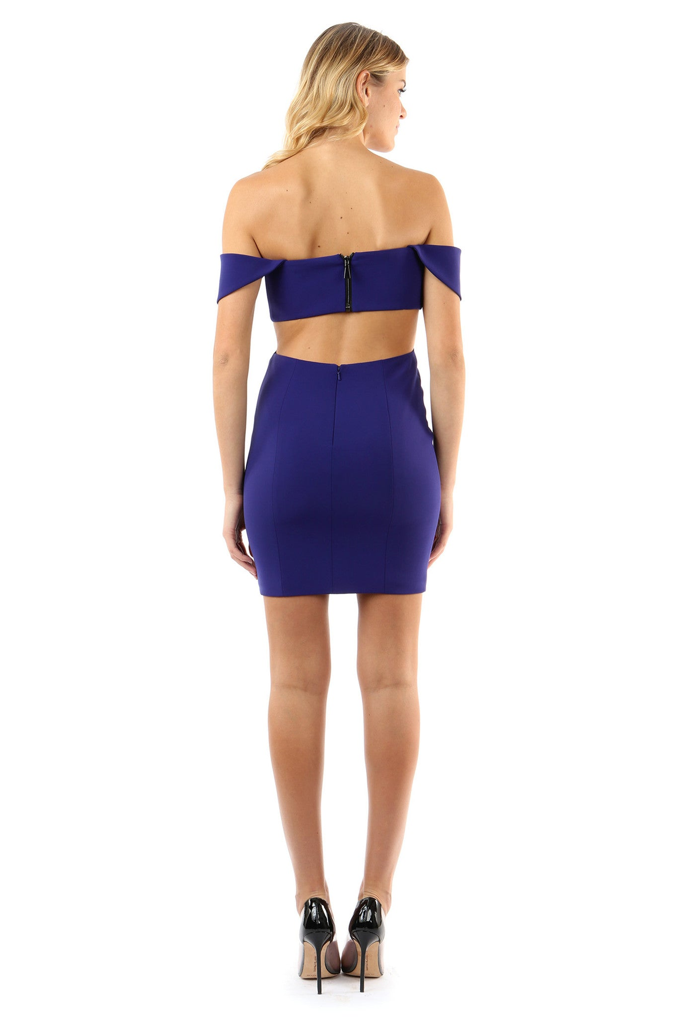 Jay Godfrey Blue Off-the-Shoulder Mini Dress - Side View
