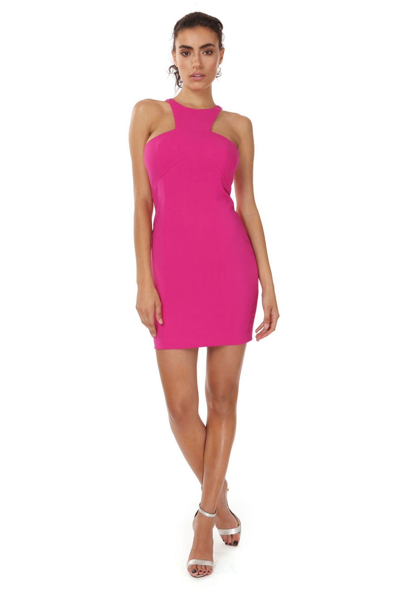 Jay Godfrey Pink High-Neck Mini Dress - Front View
