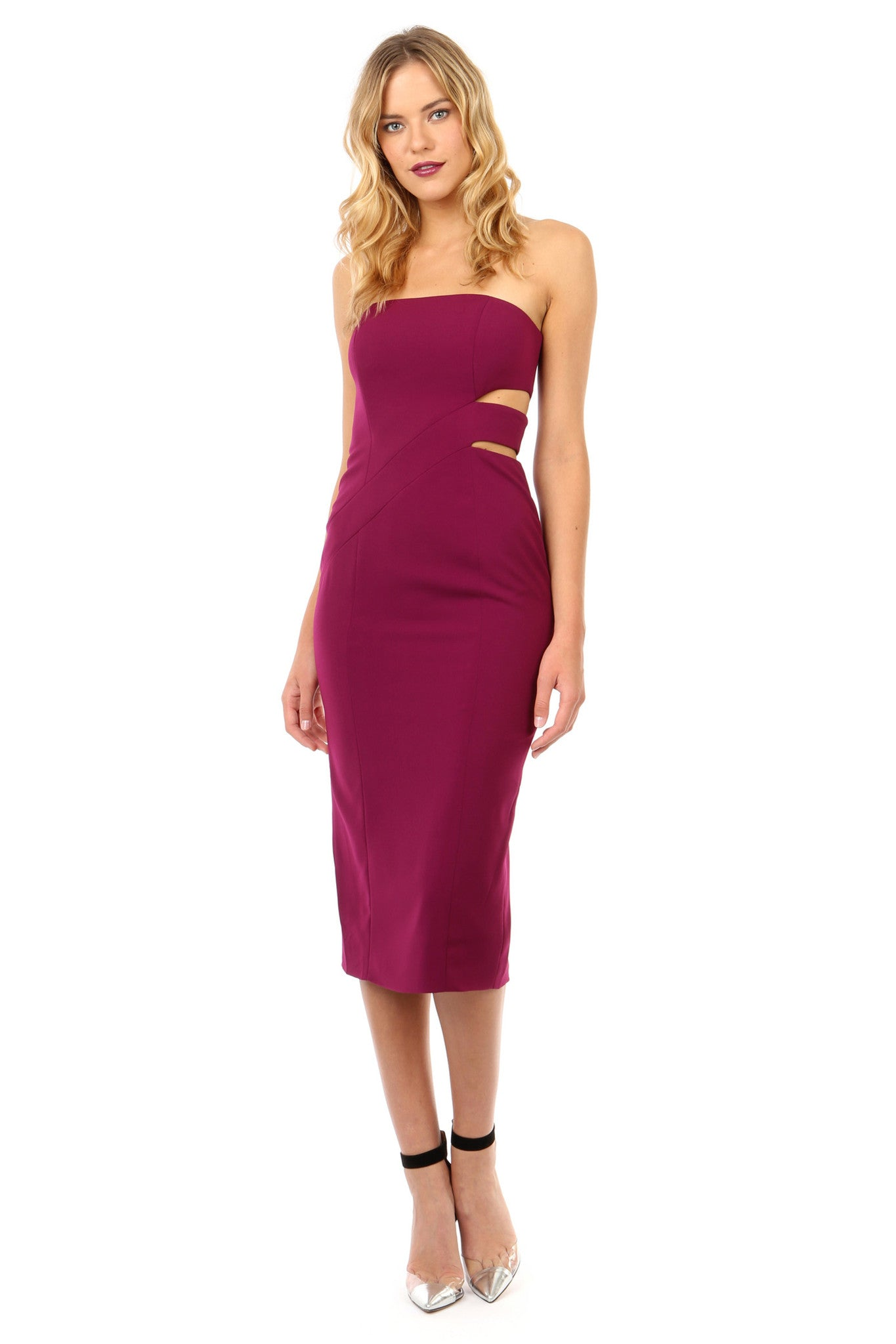 Jay Godfrey Plum Strapless Cut-Out Midi Dress - Front View