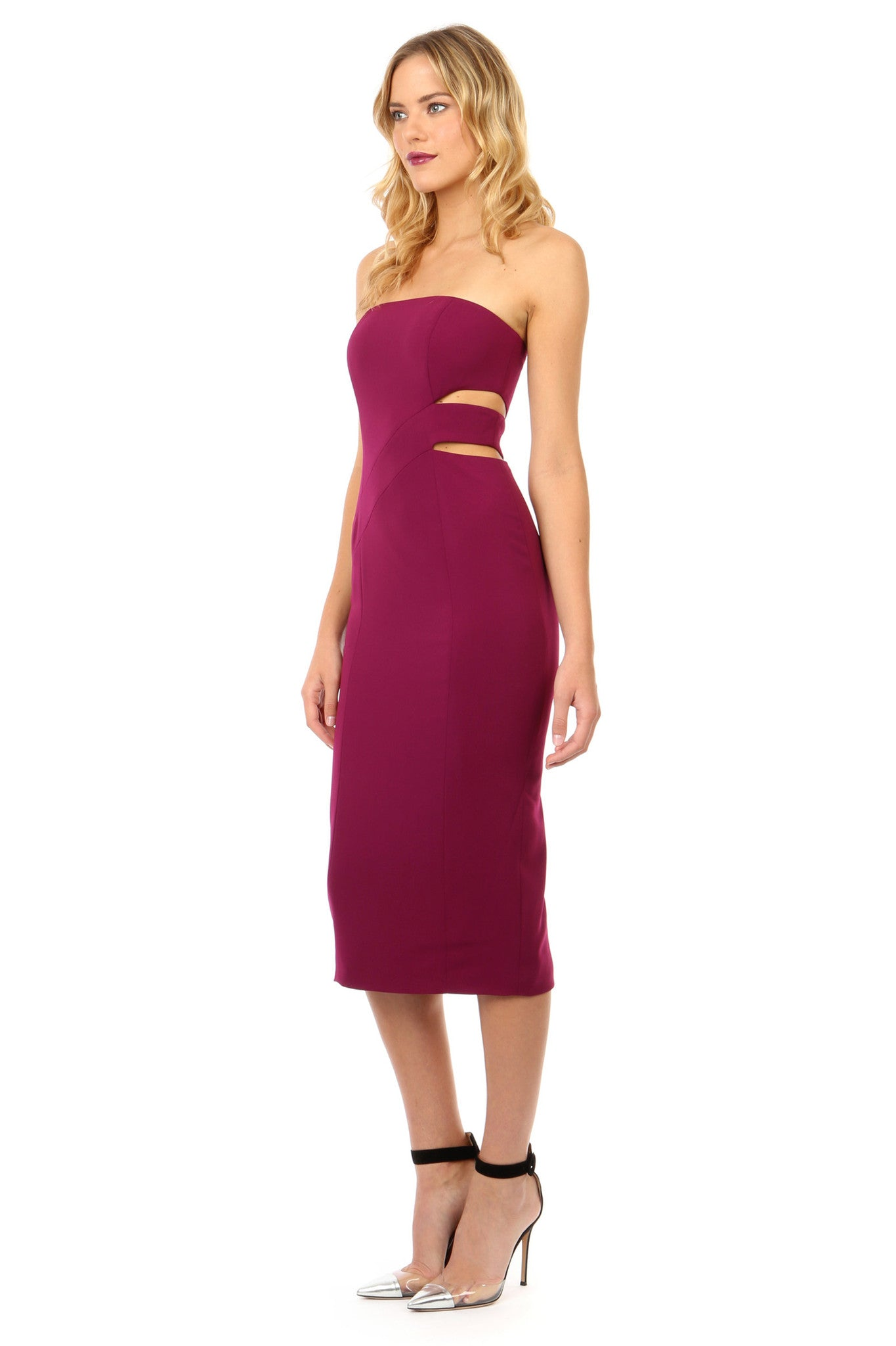 Jay Godfrey Plum Strapless Cut-Out Midi Dress - Side View