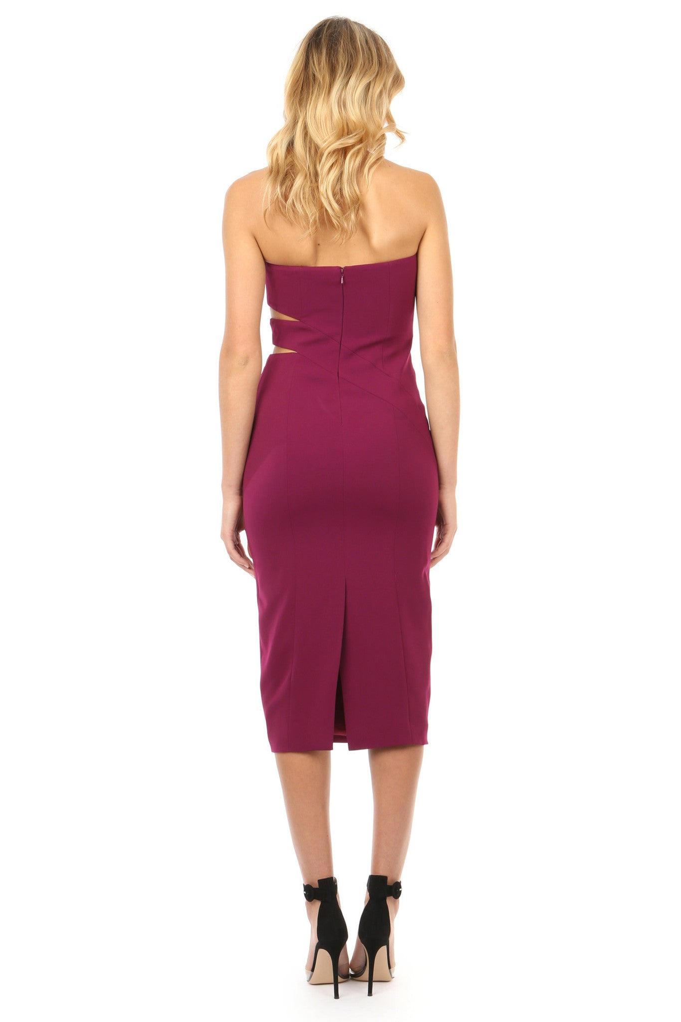 Jay Godfrey Plum Strapless Cut-Out Midi Dress - Back View