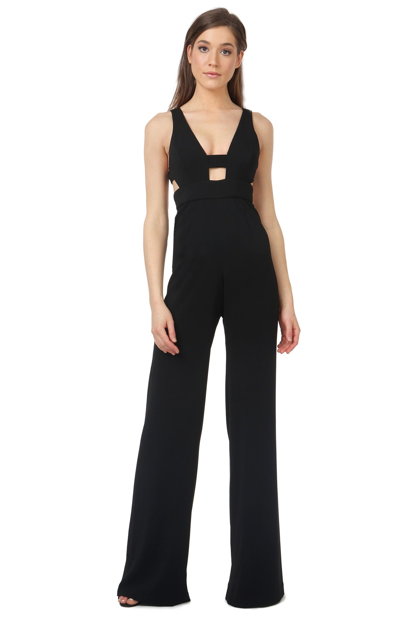Jay Godfrey Black Cut-Out Jumpsuit - Front View