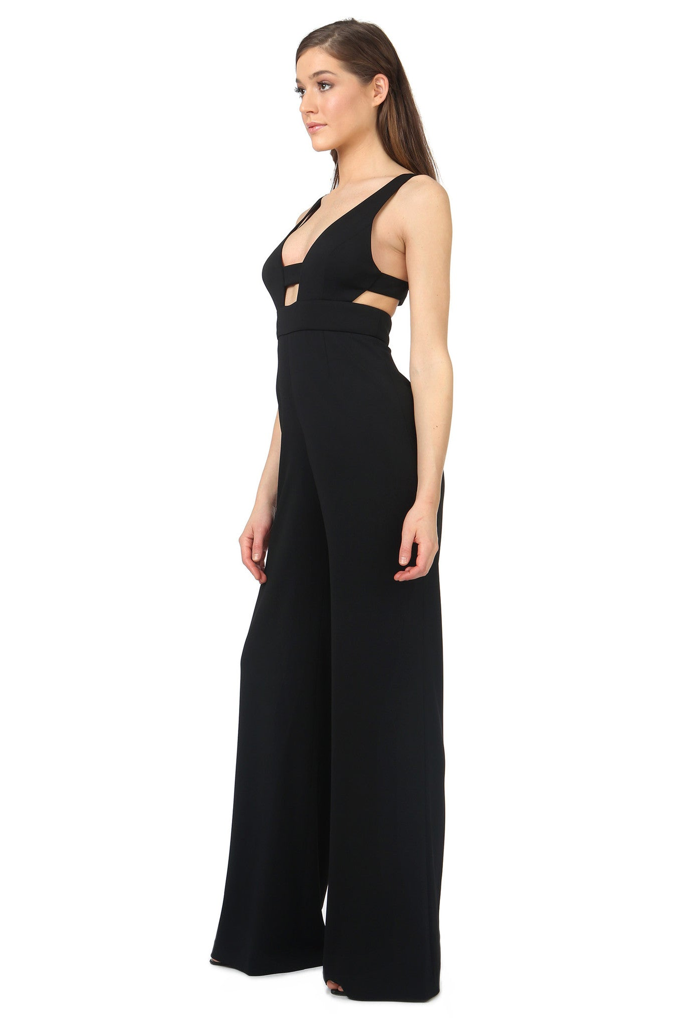 Jay Godfrey Black Cut-Out Jumpsuit - Side View