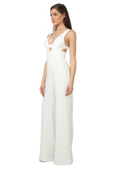 Jay Godfrey Ivory Cut-Out Jumpsuit - Side View