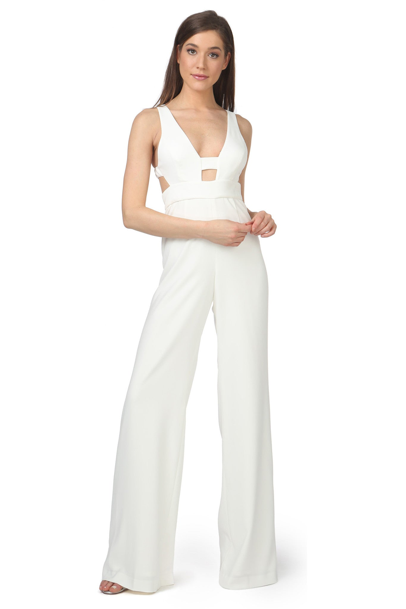 Jay Godfrey Ivory Cut-Out Jumpsuit - Front View