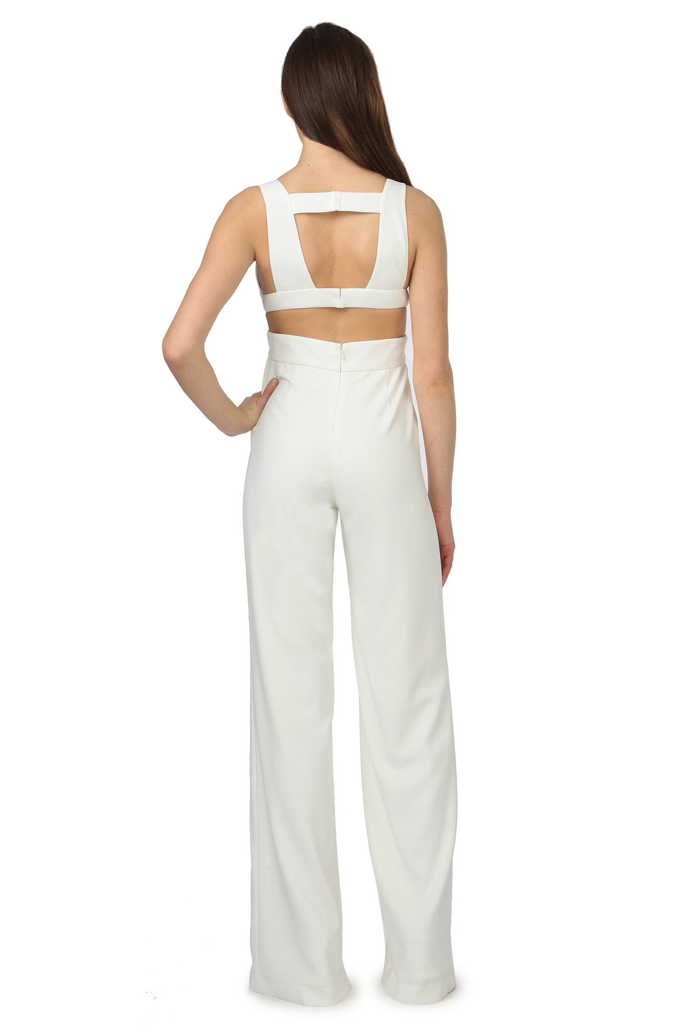 Jay Godfrey Ivory Cut-Out Jumpsuit - Back View