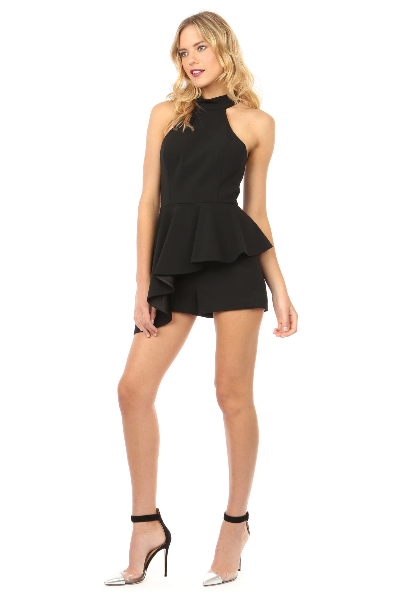 Jay Godfrey Black Halter-Neck Peplum Romper - Side View