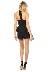 Jay Godfrey Black Halter-Neck Peplum Romper - Back View