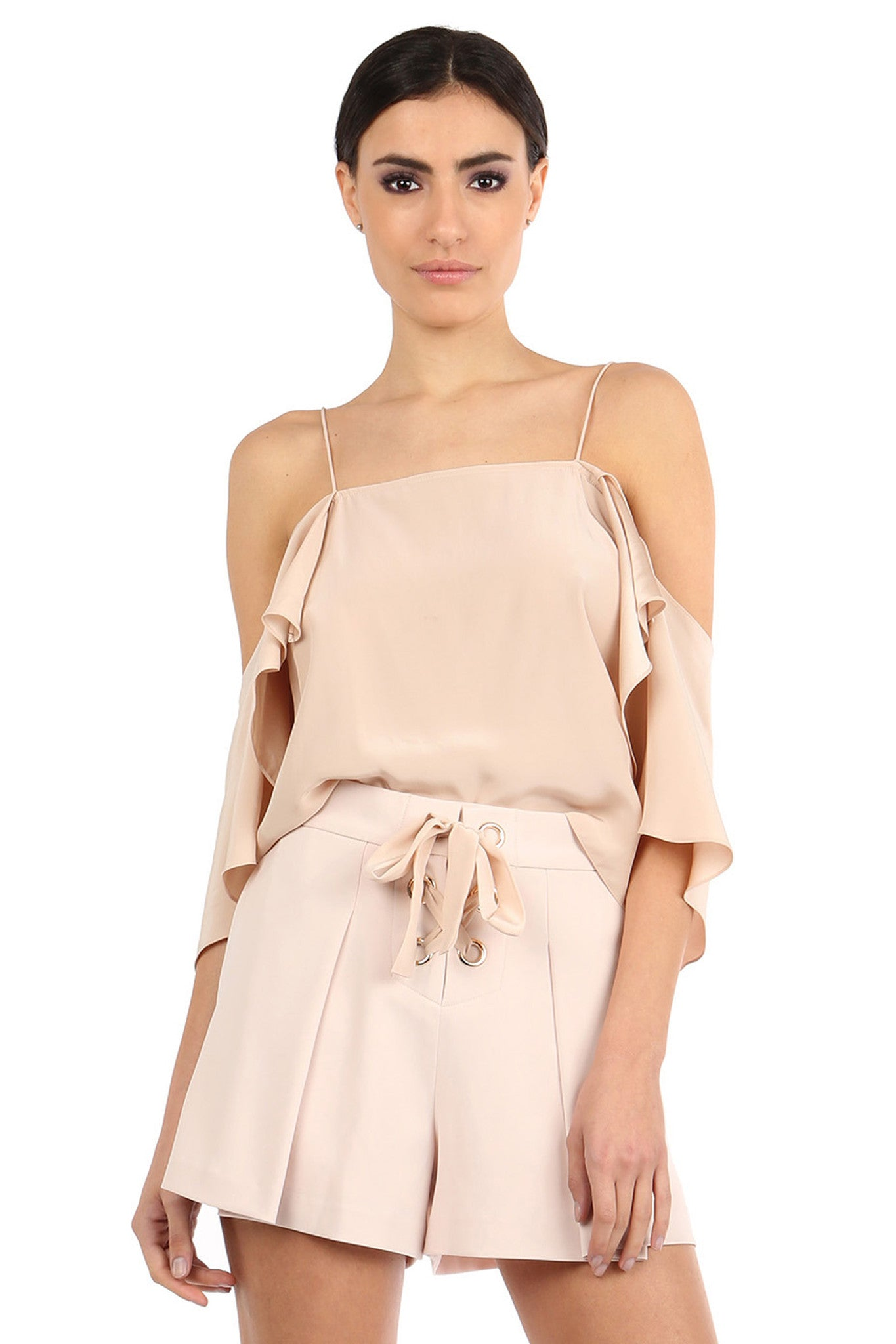 Jay Godfrey Sand Flowy Off-the-Shoulder Top - Front View