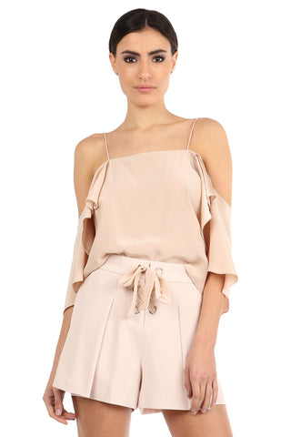 BELKIN SAND SILK OFF-SHOULDER TOP
