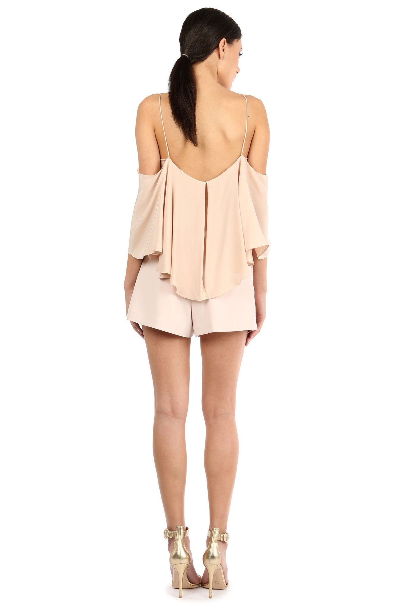Jay Godfrey Sand Flowy Off-the-Shoulder Top - Back View