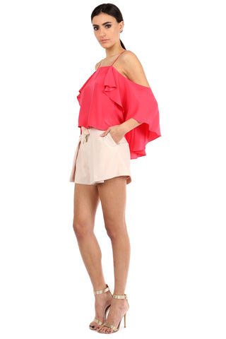 BELKIN WATERMELON SILK OFF-SHOULDER TOP