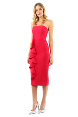 Jay Godfrey Rose Strapless Ruffle Dress - Front View