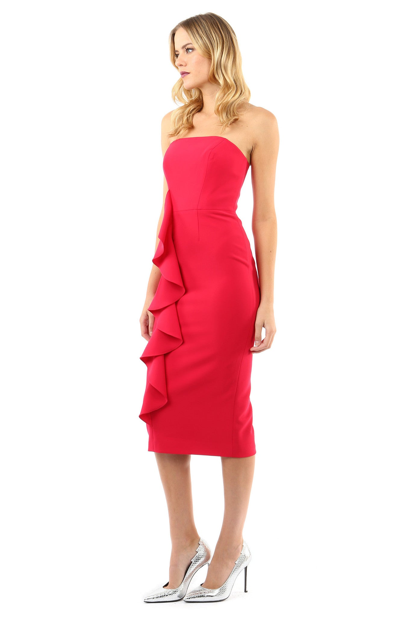 Jay Godfrey Rose Strapless Ruffle Dress - Side View
