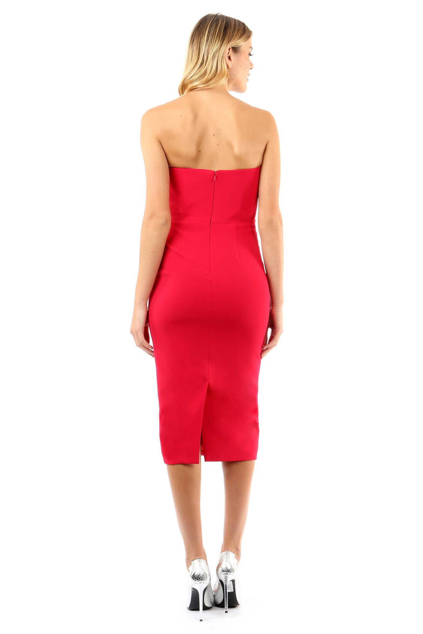 Jay Godfrey Rose Strapless Ruffle Dress - Back View