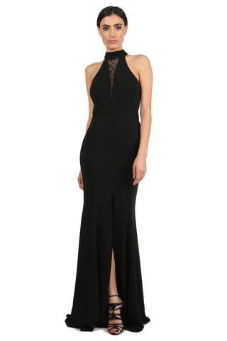 BEZOS BLACK HIGH-NECK LACE UNDERLAY GOWN