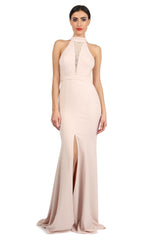 Jay Godfrey Sand High-Neck Slit Gown - Front View