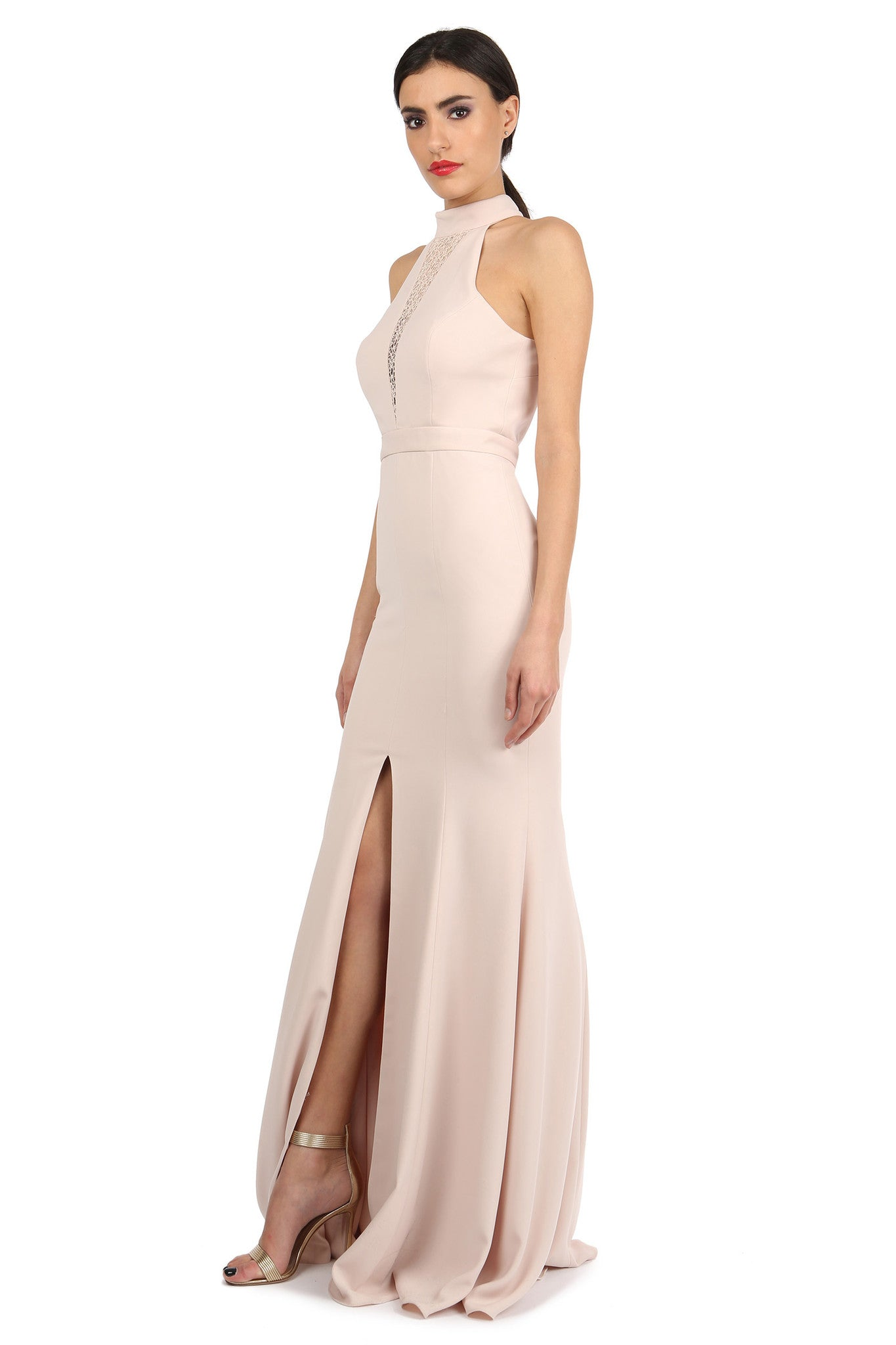 Jay Godfrey Sand High-Neck Slit Gown - Side View