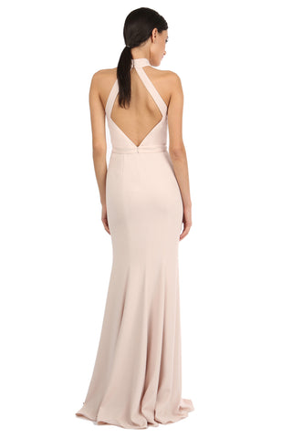BEZOS SAND HIGH-NECK LACE UNDERLAY GOWN