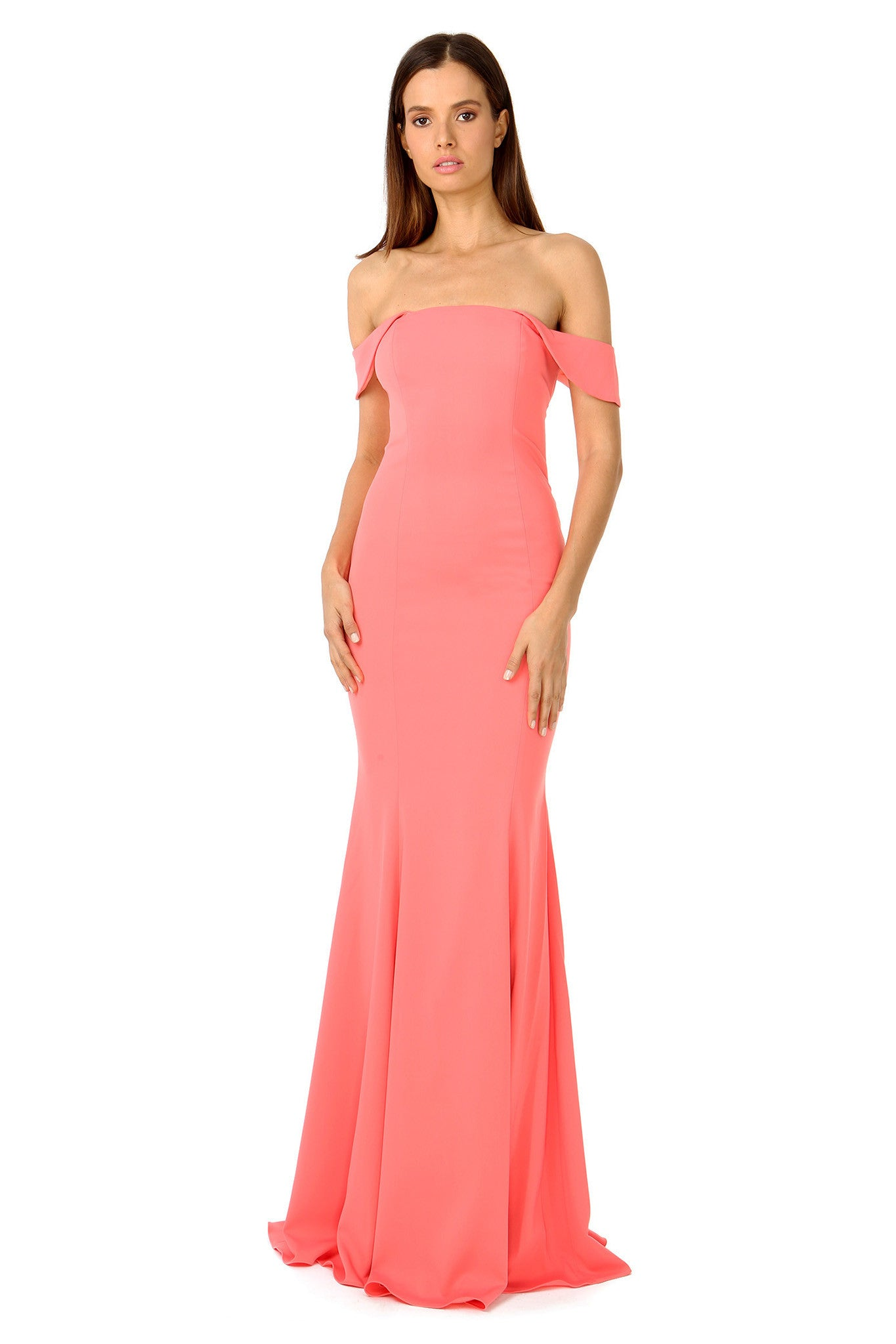 Jay Godfrey Off-the-Shoulder Coral Gown - Front View