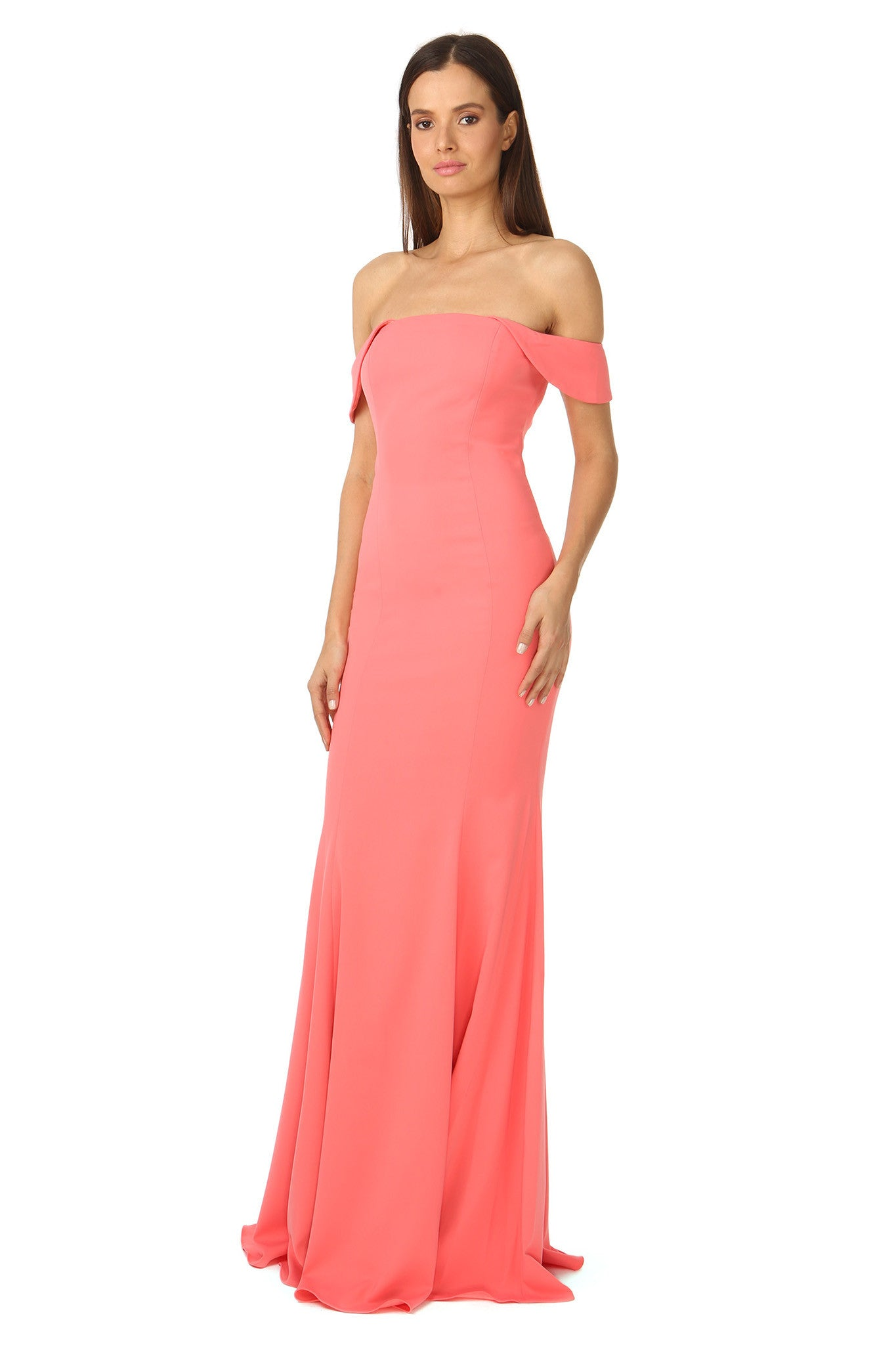 Jay Godfrey Off-the-Shoulder Coral Gown - Side View