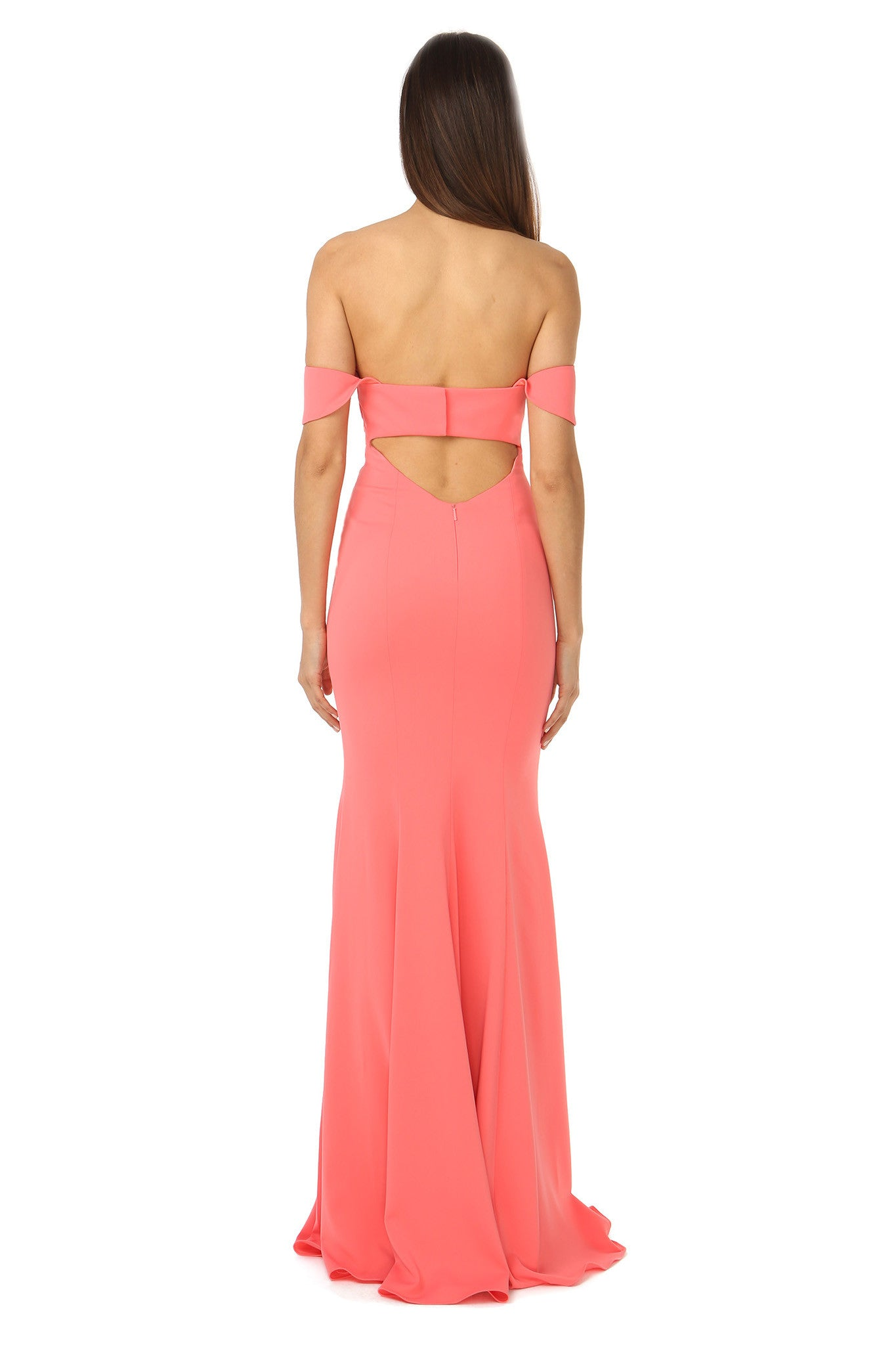 Jay Godfrey Off-the-Shoulder Coral Gown - Back View
